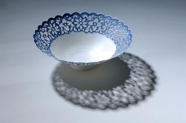 17cm青花菊瓣薄胎碗 1