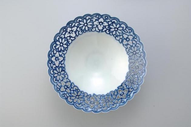17cm青花菊瓣薄胎碗 2
