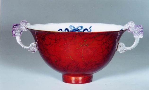 金玉滿堂琉璃耳漆瓷碗 1
