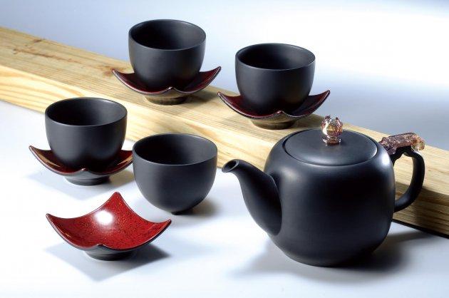 夾碳黑陶大壺組 1