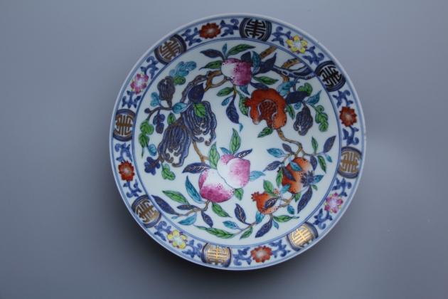 青花壽桃薄胎碗 1